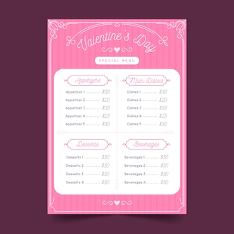 Płaska konstrukcja szablon menu walentynki