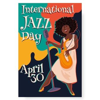 Płaska konstrukcja szablon międzynarodowego dnia jazzu plakat szablon