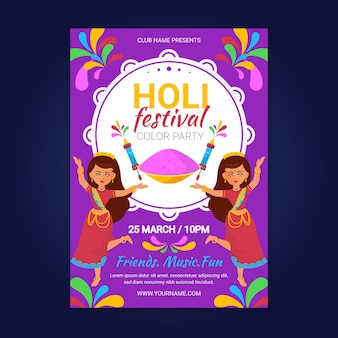 Płaska konstrukcja szablon plakat festiwalu holi