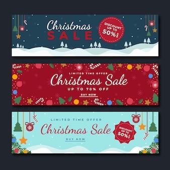 Płaska konstrukcja szablon sprzedaż banery świąteczne