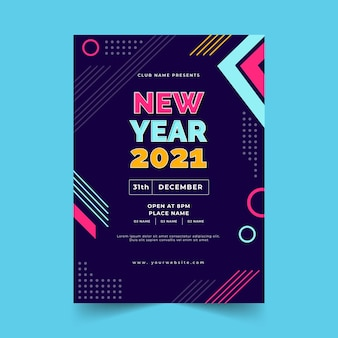 Płaska konstrukcja szablon strony plakatu nowy rok 2021