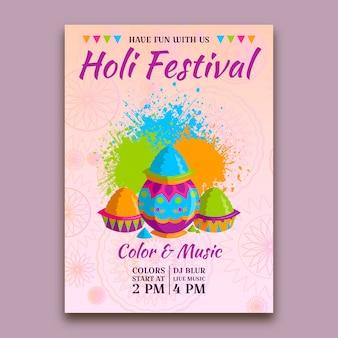 Płaska konstrukcja szablon ulotki festiwalu holi