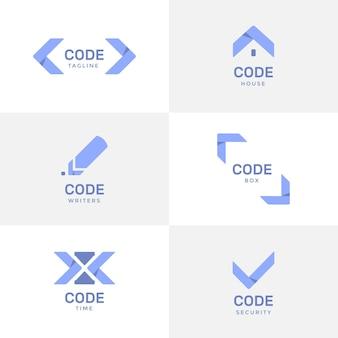 Płaska konstrukcja szablonów logo firmy programowania