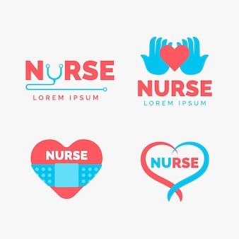 Płaska konstrukcja szablonów logo pielęgniarki