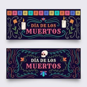 Płaska konstrukcja szablonu banerów dia de muertos