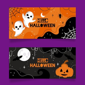 Płaska konstrukcja szablonu banerów halloween