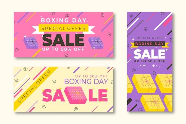 Płaska konstrukcja szablonu banerów sprzedaży boxing day