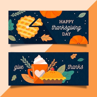 Płaska konstrukcja szablonu banery dziękczynienia