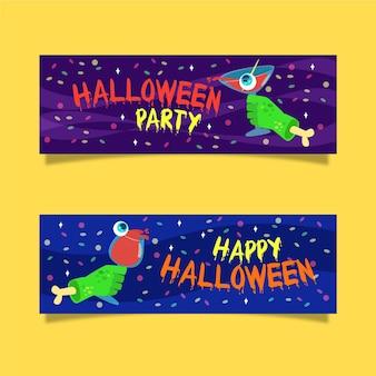 Płaska konstrukcja szablonu banery halloween