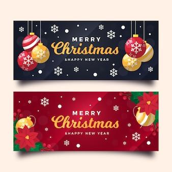 Płaska konstrukcja szablonu banery świąteczne