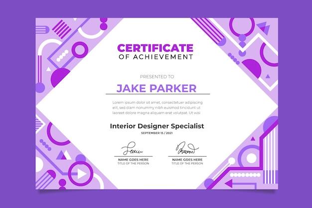 Płaska konstrukcja szablonu certyfikatu nowoczesny