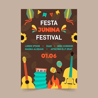 Płaska konstrukcja szablonu festa junina plakat