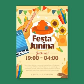 Płaska konstrukcja szablonu festa junina ulotki