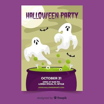 Płaska konstrukcja szablonu halloween party plakat