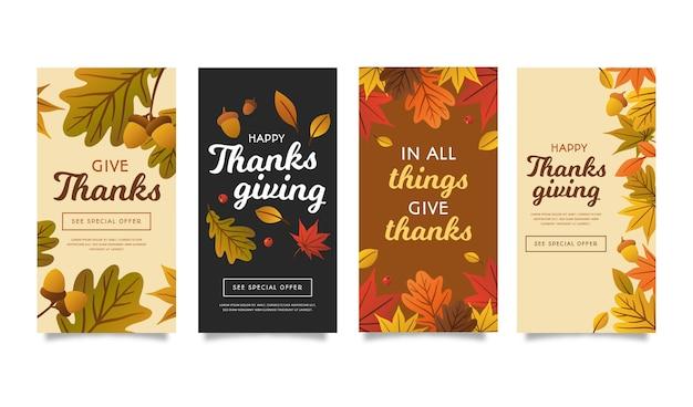 Płaska konstrukcja szablonu historii na instagramie dziękczynienia
