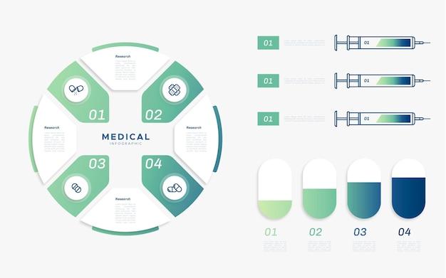 Płaska konstrukcja szablonu infografiki medyczne