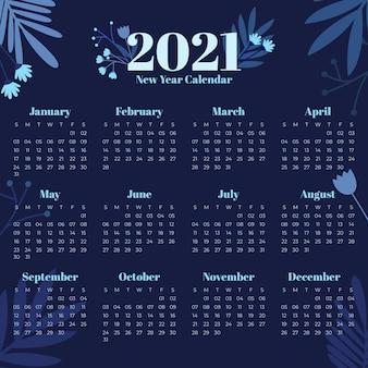 Płaska konstrukcja szablonu kalendarza nowego roku 2021