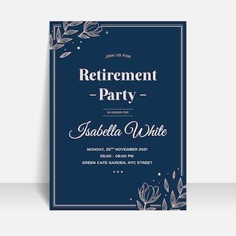 Płaska konstrukcja szablonu karty z pozdrowieniami emerytury