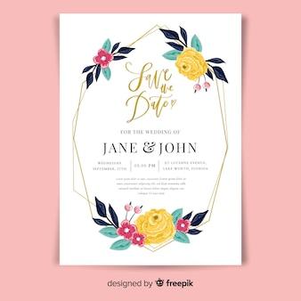 Płaska konstrukcja szablonu kwiatowy zaproszenie na ślub