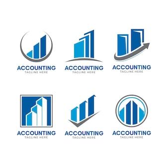 Płaska konstrukcja szablonu logo rachunkowości firmy