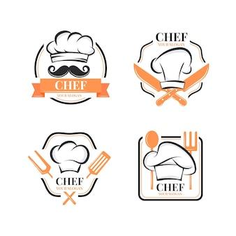 Płaska konstrukcja szablonu logo szefa kuchni