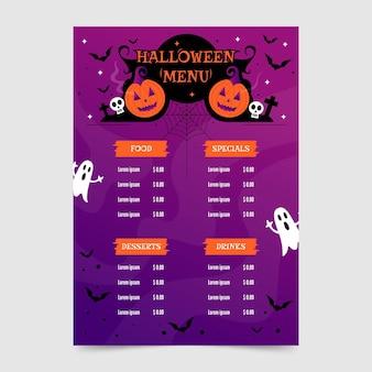 Płaska konstrukcja szablonu menu halloween z dyni