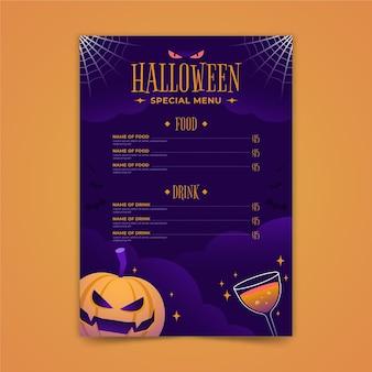 Płaska konstrukcja szablonu menu halloween
