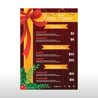 Płaska konstrukcja szablonu menu świąteczne z kokardą