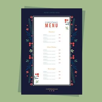 Płaska konstrukcja szablonu menu świąteczne