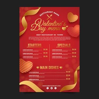 Płaska konstrukcja szablonu menu walentynki