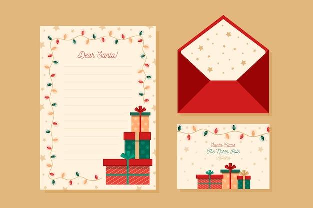 Płaska konstrukcja szablonu papeterii świątecznej