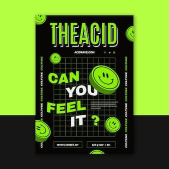 Płaska konstrukcja szablonu plakatu emoji kwasu