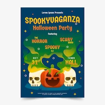 Płaska konstrukcja szablonu plakatu halloween party
