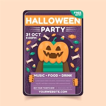 Płaska konstrukcja szablonu plakatu halloween z dyni