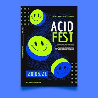 Płaska konstrukcja szablonu plakatu party emoji kwasu kwas