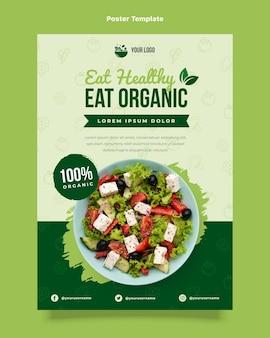 Płaska konstrukcja szablonu plakatu żywności ekologicznej