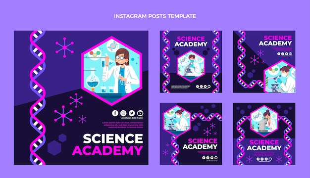 Płaska konstrukcja szablonu postu na instagramie nauki