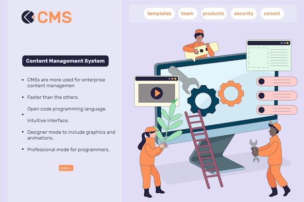 Płaska konstrukcja szablonu sieci web koncepcji cms