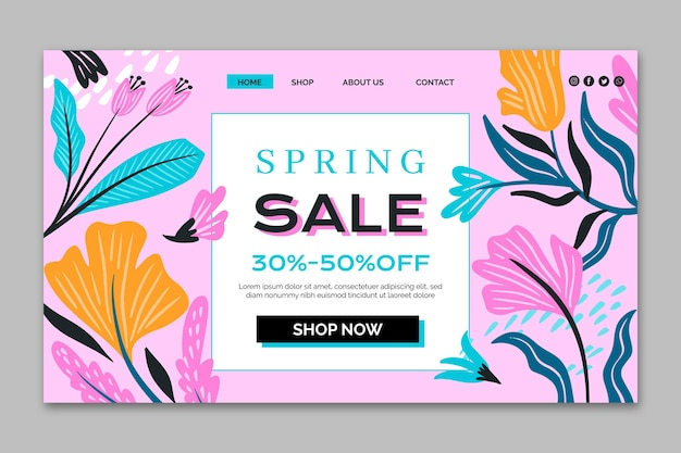 Płaska konstrukcja szablonu sprzedaży wiosny strony docelowej
