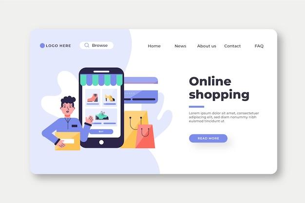 Płaska konstrukcja szablonu strony docelowej zakupy online