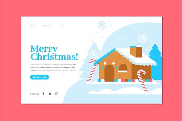 Płaska konstrukcja szablonu świątecznej strony docelowej
