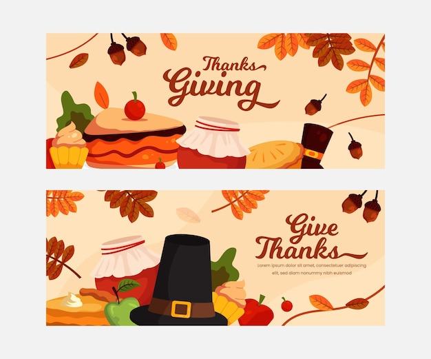 Płaska konstrukcja szablonu transparent dziękczynienia