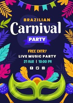 Płaska konstrukcja szablonu ulotki brazylijskiego karnawału