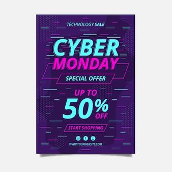 Płaska konstrukcja szablonu ulotki cyber poniedziałek w żywych kolorach