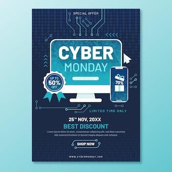 Płaska konstrukcja szablonu ulotki cyber poniedziałek z obwodami
