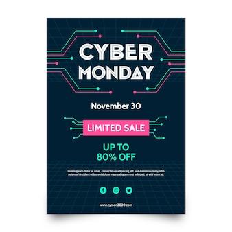 Płaska konstrukcja szablonu ulotki cyber poniedziałek