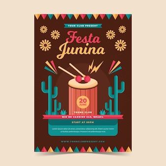 Płaska konstrukcja szablonu ulotki festa junina