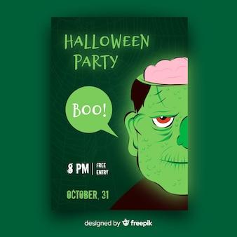 Płaska konstrukcja szablonu ulotki halloween party