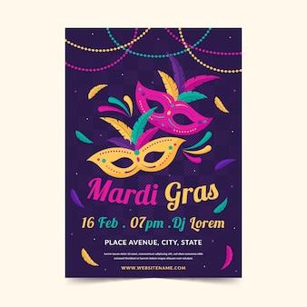 Płaska konstrukcja szablonu ulotki mardi gras