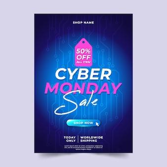 Płaska konstrukcja szablonu ulotki sprzedaży cyber poniedziałek